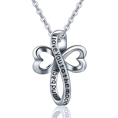 EUDORA 925 Sterling Silver I Love You to the Moon and Back Necklace Celtic Knot Cross Gift, 18