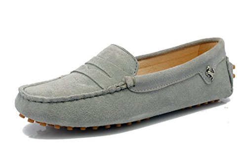 LL STUDIO Womens Casual Slip On Flats Grey Seude/Leather Driving Walking Moccasins Loafers Boat Shoes 8 M US -  LL STUDIO-YIBU9603-Grey-Suede39