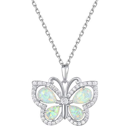 (Fancime 925 Sterling Silver White Created Opal Butterfly Pendant Necklace Cubic Zirconia CZ Fine Jewelry Gifts For Women Girls 16+2