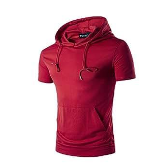 HerZii Hombres Sudadera Capucha Camiseta Mangas Cortas (XXL, Rojo)