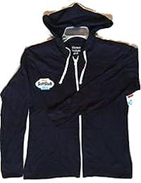 Women's Jersey Full Zip Hoodie, Navy White Zipper XL
