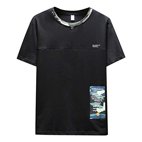 LEKODE Men T-Shirt Summer New Fashionable Solid Color Tee Comfortable Blouse(Black,XL) -