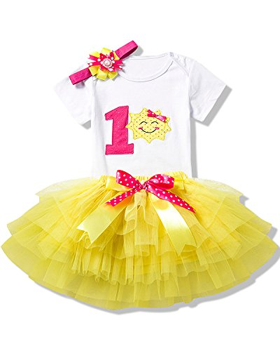 NNJXD Girl Smile Pattern Tutu 1st Birthday 3 Pcs Outfits Romper+Dress+ Gold Headband Size (1) 1 Year ()