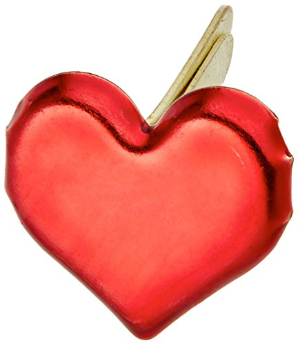 - CREATIVE IMPRESSIONS Painted Metal Paper Fasteners 50/Pkg, Hearts - Metallic Red