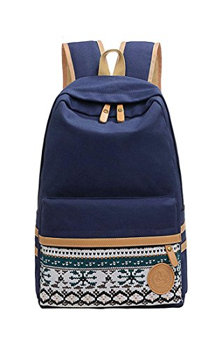veenajo-casual-flower-printed-canvas-laptop-bag-school-backpack-travel-daypack-darkblue