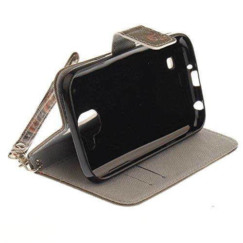 Para LG K3 2017 4,5 Zoll funda, (tigre blanco) caja del teléfono de la PU patrón en pintado ,Función de Soporte Billetera con Tapa para Tarjetas correa de mano soporte para teléfono águila