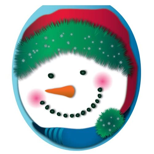 high-quality Toilet Tattoos TT-X604-R Snowman in Stocking Cap Design, Round