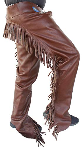 Professional Equine M Horse Western Cowboy Smooth Brown Leather Cutting Chaps w/Fringe 924F04BR