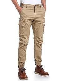 Mens Slim Fit Chino Jogger Pants, Mens Athletic Boys Casual Cargo Khaki Pants
