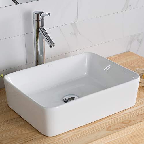 Kraus C-KCV-121-1002CH White Rectangular Ceramic Sink and Sheven Faucet Chrome ()