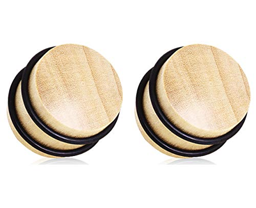 Pierced Owl Handmade Organic Blonde Crocodile Wood No Flare Plugs with O-Rings, Sold as a Pair (12mm (1/2