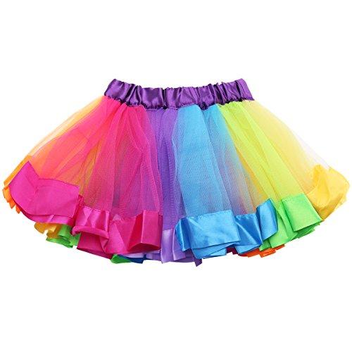 Danza Bambini Tutu Tulle Ragazze Arco Di Colorato Bambino Balletto Arcobaleno Di Costume Abito Tiaobug fqB0w5SB