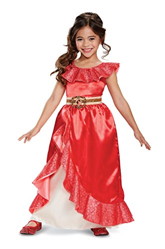 Disney Halloween Outfits (Elena Adventure Outfit Deluxe Costume, Red, Medium (7-8))