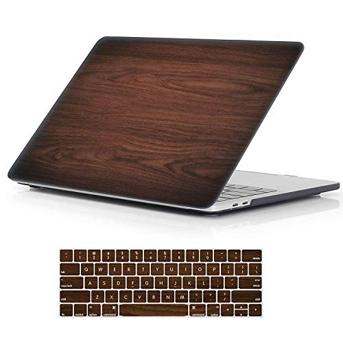 2016 Wood - MacBook Pro 15 Case 2018 2017 2016 Release A1990/A1707,iCasso Rubber Coated Cover with Keyboard Cover Compatible Apple MacBook Pro 15