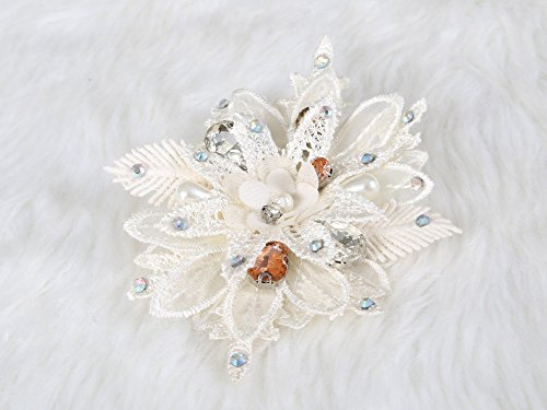 Elegant Lace Flower Hair Clip and Brooch pin crystal and rhinestone (Pebbles Halloween Hair)