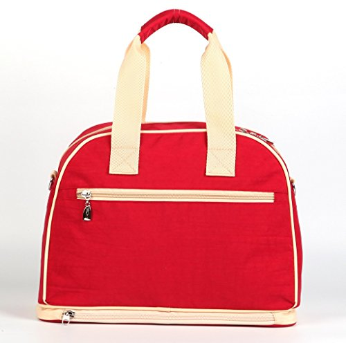 LCY multifunción de gran capacidad Baby pañal bolso cambiador Bolso Messenger Bag Dark Blue/Apricot Red/Apricot