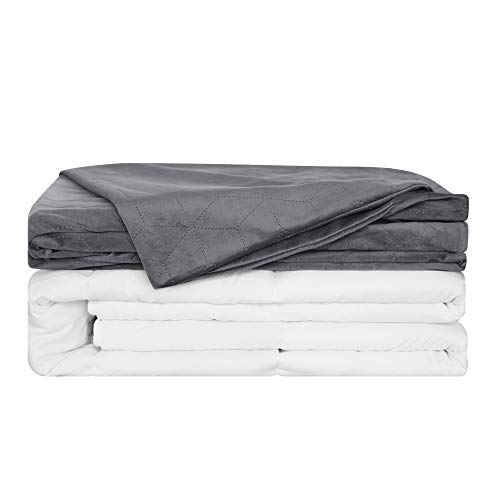 Cheap Deconovo Heavy Weighted Blanket with Removable Duvet Cover for Adult Filled with Premium Soft Micro Glass Beads Queen Size 60 x 80 Inch 15 lbs Black Friday & Cyber Monday 2019