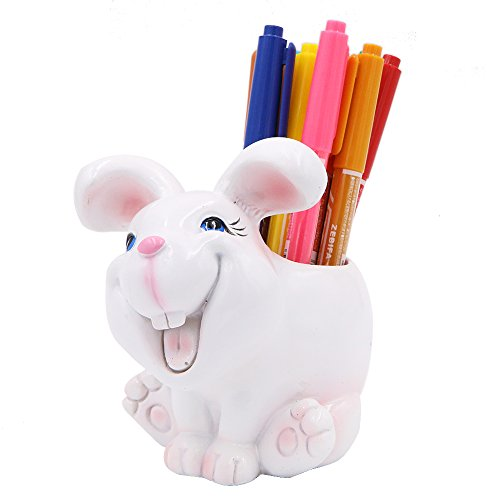 Exquisite Cute Resin Animal Pen Pencil Holder Storage Box Desk Organizer Accessories (Rabbit) by Winterworm