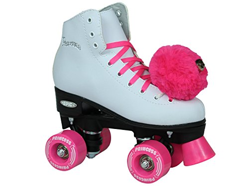 Epic Skates Pink Princess Girls Quad Roller Skates, White, Youth 4 -
