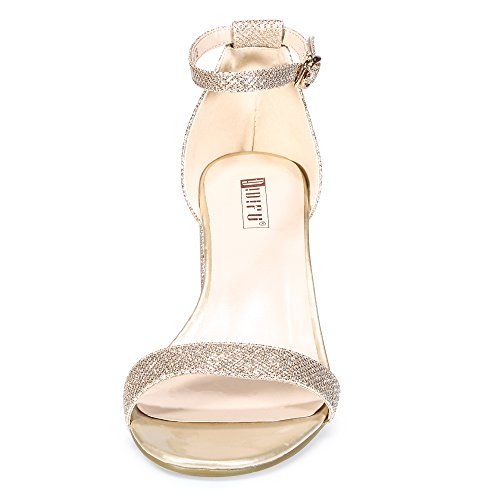 Glitter Low Dress IDIFU Women's Gold Cookie Strap LO Heel IN2 Ankle Pump Sandal wAHqHI7