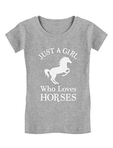 Tstars - A Girl Who Loves Horses Horse Lover Gift Girls' Fitted Kids T-Shirt M (7-8) Gray ()