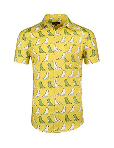 - NUTEXROL Mens Hawaiian Shirts Standard-Fit Cotton/Polyester Palm Tree Printed Beach Wear Yellow M