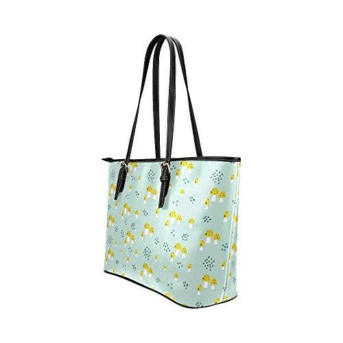 Dragkedja axelväska cartoon svamp bergskogar läder hand död väska vardagliga handväskor med dragkedja axel organizer för dam flickor kvinnor axelväskor resa