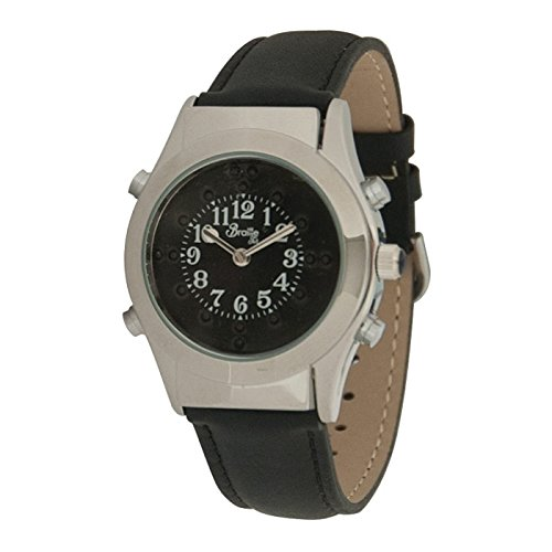 - Mens Chrome Braille Talking Watch -Spanish- Black Dial + Leather Band