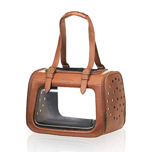 ibiyaya Airline Approved in-Cabin pet Bag for Small Breeds of Cats and Dogs, a Stylish Alternative to pet Kennel and Dog Carrier Purse Products (Deluxe Leather)