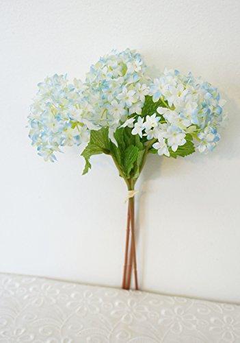 Hydrangea Small (Sweet Home Deco 12'' Silk Snow Ball Geranium Artificial Flower Bunch (3 Stems w/ 3 Flower Heads) Craft Flowers for Arrangements Bouquets (Light Blue))