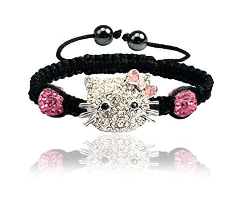 Sweet Sparkle Black Hello Kitty Braided Rope Bracelet - Fashion Jewelry for Girls Bling rhinestone balls