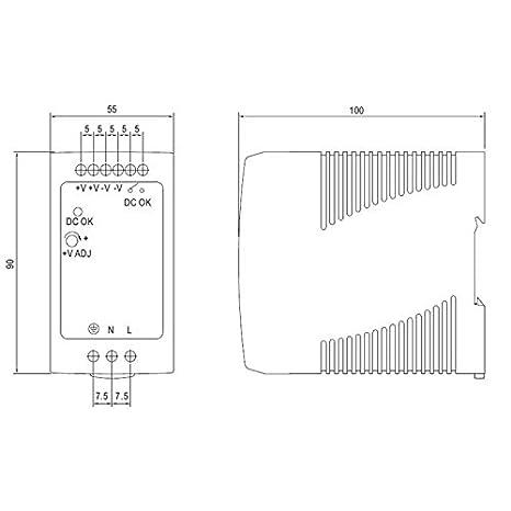 MDR-100-12 Din-Rail Alimentazione 90W 12V 7,5A ; MeanWell
