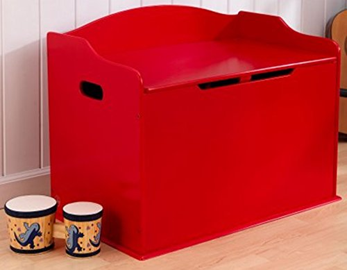 Toy Box, Functional, Red, Safety Hinge on Lid Protects Young Fingers from Getting Pinched, Made of Wood, Doubles as a Bench for Additional Seating, Easy to Put Together, BONUS FREE E-book by Home X Style