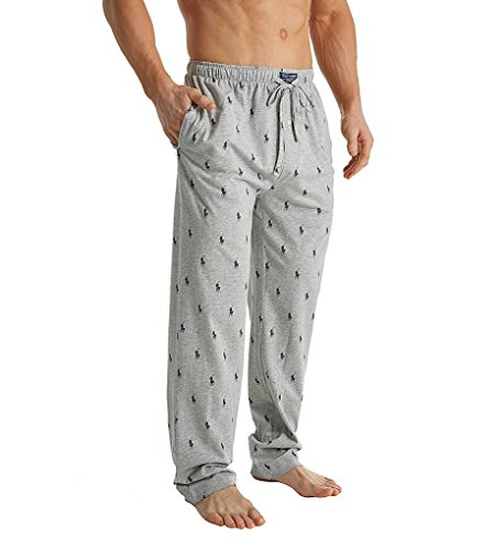 Ralph Lauren Mens Pajamas - Polo Ralph Lauren Pony Player Print Classic Pajama Pant (PK04SR) L/Andover Heather/Navy