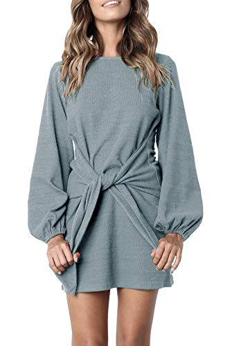 R.Vivimos Women's Autumn Winter Cotton Long Sleeves Elegant Knitted Bodycon Tie Waist Sweater Pencil Dress (Medium, Light Blue)