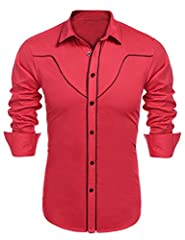 COOFANDY Men's Stylish Embroidered Cotton Western Long Sleeve Casual Button Down Shirt This shirt is a unique collection for Coofandy mens wear, with a touch of Western Cowboy flair.And the beautiful embroidered can help you become the focus ...