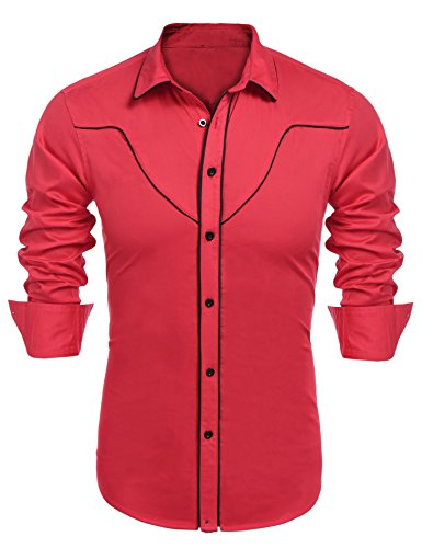 (COOFANDY Mens Western Cowboy Shirt Embroidery Contrast Piping Button Down Shirt, Red, Large)