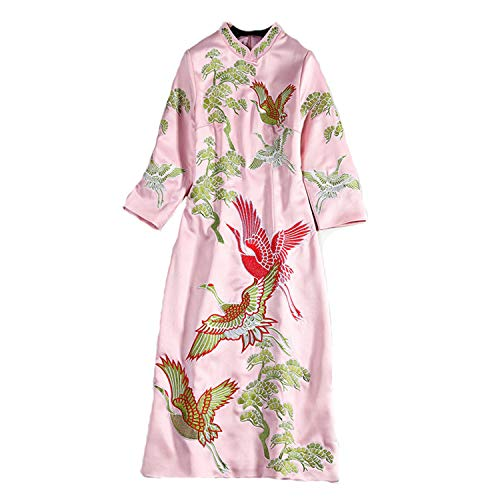 Lujo Wtug® Organza Chino Pink Moda Morado A Mujer Vestido De Tamaño Cheongsam Bordado Mano Noble Gran 1SgSH