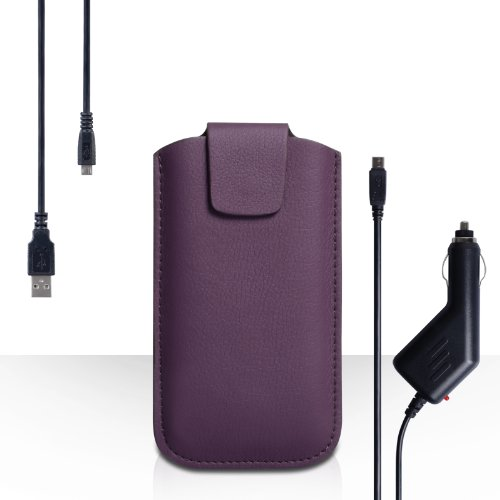 Yousave Accessories Huawei Ascend G6 Case Purple Lichee Leather Pouch Cover With Micro USB Cable And Car Charger