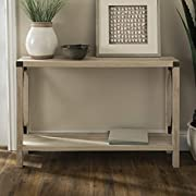 WE Furniture Barnwood Farmhouse Sqaure Accent Entryway Table, 46 Inch, White