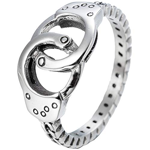 (Kingray Jewelry Stainless Steel Double Circle Handcuff Karma Infinity Promise Statement Anniversary Ring)