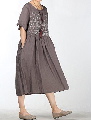 Mallimoda Damen Rundhals Kurzarm Langes Leinen Kleid Sommerkleid Grau  q5yN74Pm ... c68a2d53da