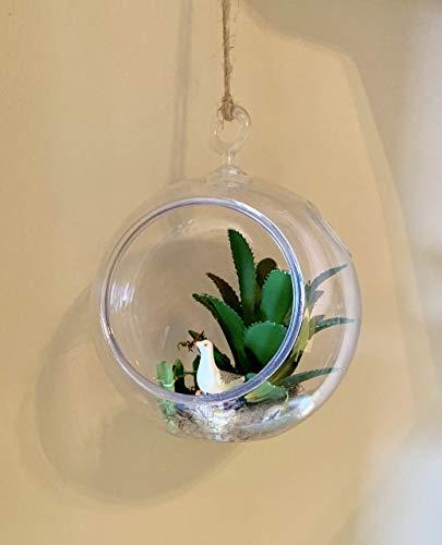 Seagull Upcycled Succulent Terrarium - Beach Planter - Ocean Side Terrarium - Hanging Globe Planter - Cactus Plant - Artificial Succulents