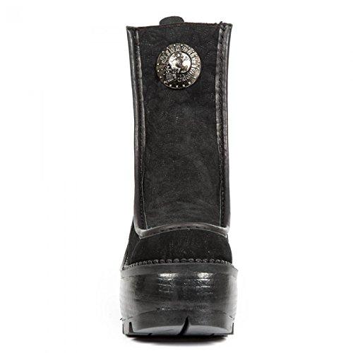 New Rock Boots M.seve10-c1 Gotico Hardrock Punk Damen Schnürstiefel Schwarz