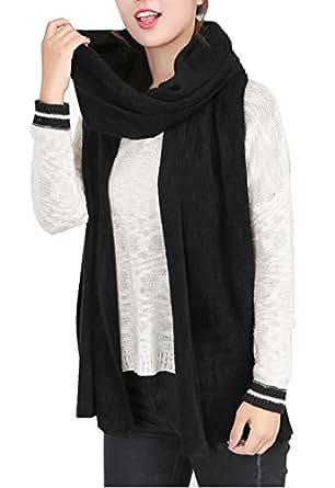 Wander Agio Women's Warm Long Shawl Winter Warm Large Scarf Pure Color Black