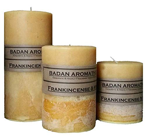 (Badan Frankincense and Myrrh Soy Candle Pillar Scented, Neutral Set of 3)