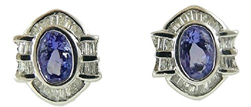 Tanzanite 0.99ct and Diamonds 0.41ct Earrings 18k White Gold ()