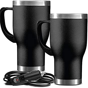 a58b7783292 SHARPER IMAGE 14 Oz. Stainless Steel Heated Travel Mug Set 2 Pack with 2  No-Spill Lids and 2 12V DC Adapters, Featuring Tapered Fit for Standard Cup  ...