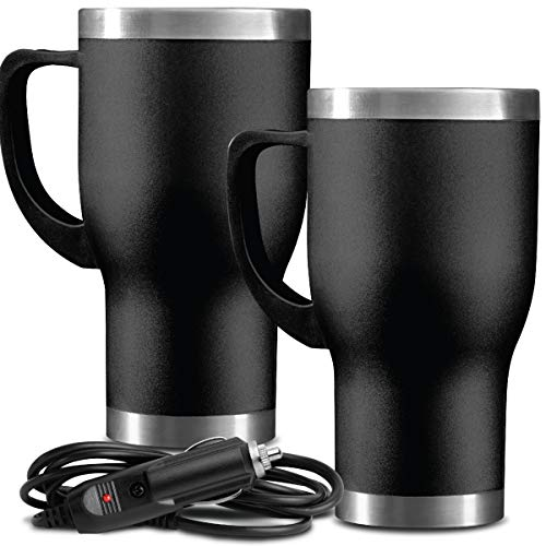 Stainless Steel Heated Coffee Cup - Sharper Image 14 Oz. Stainless Steel Heated Travel Mug Set 2 Pack with 2 No-Spill Lids and 2 12V DC Adapters, Featuring Tapered Fit for Standard Cup Holders and Hours of Hot Beverages or Soups