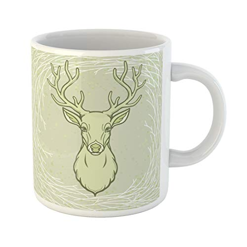 Semtomn Funny Coffee Mug Animation Portrait of Horned Deer Wood Spirit Pagan Deity 11 Oz Ceramic Coffee Mugs Tea Cup Best Gift Or Souvenir ()